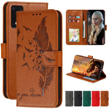 For Samsung Galaxy S20 A51 A71 Feather Leather Flip Stand Card Wallet Case Cover
