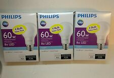 New 12 Philips 8W 60W Equivalent Daylight  A19 LED Light Bulbs