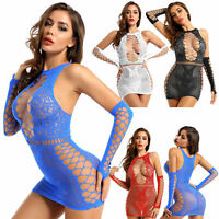 Sexy Women's Transparent Fishnet Lingerie Bodycon Nightwear Mini Dress Clubwear