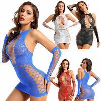 Sexy Women Hollow Out Sleeveless Fishnet Short Mini Dress Bodycon Party Clubwear