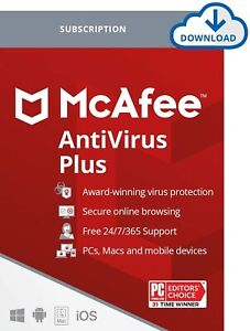 McAfee Antivirus Plus 2021 Premium Subscription - Unlimited Device 1 to 3 year