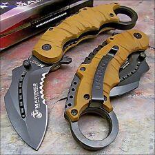 Couteau Karambit Tactical Marine Desert A/O Lame Acier Carbone/Inox USMA1019BT