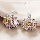 18K White Gold Plated Made With Swarovski Crystal Oval Cut Fancy Stud Earrings