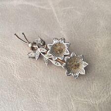 Broche Ancienne Argent Massif Fleurs Plaqué Or 1900 Jugendstil Silver Brooch