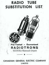 Canadian GE Radiotron Tube Substitution List * CDROM * PDF