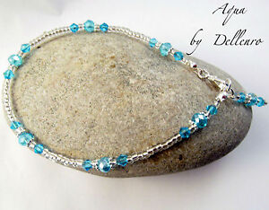 ✫AQUA✫ BLUE HANDCRAFTED BEADED CRYSTAL ANKLE CHAIN ANKLET ANKLE BRACELET