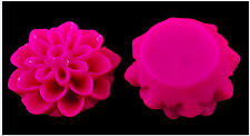 Resin Cabochon Flowers 20 Hot PInk Dahlias 15mm x 8mm Retro Style Flatbacks