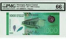 2017 Nicaragua 1000 Cordobas PMG66 EPQ GEM UNC '1st Prefix A' @Polymer