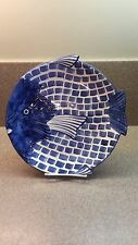 ZANOLLI HAND PAINTED BLUE AND WHITE ITALY FISH PLATTER DISH ITALIAN ART
