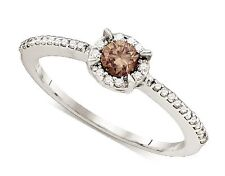 Chocolate Brown Diamond Solitaire Ring 10K White Gold Diamond Accent Band .33ct