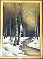 Antique Maimie Kelley (1885-1932) California Artist Winter Scene Oil Painting