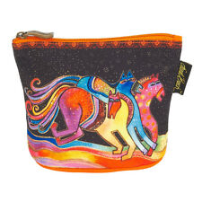 New LAUREL BURCH Cosmetic Bag FLORAL PONY HORSE MARE Makeup Case Pouch Black