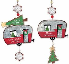 RV ORNAMENT HAPPY CAMPER METAL SET 2 VINTAGE CHRISTMAS TRAILER GALVANIZED METAL