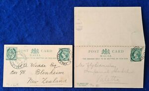 1901 Malta POST PAID POSTCARDS QV ½d & ½d +½d reply still attached to postcard