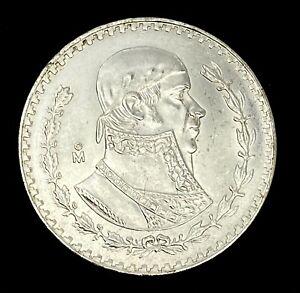 1963 Mexico Silver Coins $1 Un Peso Morelos Currency Bank Cash Money AU UNC