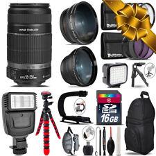 Canon EF-S 55-250 IS + Slave Flash + LED Light + Tripod - 16GB Accessory Bundle