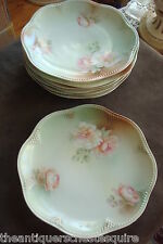 REINHOLD SCHLEGELMILCH - R.S. GERMANY-c1910s, 7 dessert plates, roses[5Rs3]