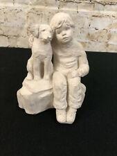 1987 Austin Prod Inc Bright Eyes Crowley Labrador Retriever Dog & Boy Sculpture
