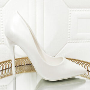 Women's Shoes Bride White Pearl Heel Pin Court Shoes Wedding Toocool JC3042