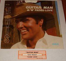ELVIS PRESLEY GUITAR MAN ORIGINAL PICTURE SLEEVE WITH PROMO 45 & JUKE BOX STRIP