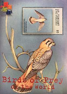 ST. VINCENT BIRDS OF PREY SOUVENIR SHEET 2001 MNH AM. KESTREL STAMPS WILDLIFE
