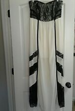 Ya Los Angeles Ivory and Black Floral Lace Strapless Summer Silk Maxi Dress - L