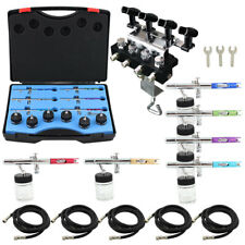 OPHIR 6PCS 0.35mm Dual Action Airbrush Set Kit w 4-Airbrush Holder 5x Air Hoses