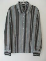 East 5th Women's Size XL Long Sleeve Blue Striped Button Front Blouse
