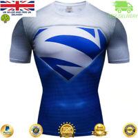 Mens t-shirt compression gym superhero avengers marvel muscle Superman MMA BJJ