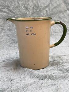 Vintage Enamel Measuring Jug Colours Green And Cream