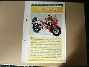 LM14- HONDA RC 45 INFO CARD SHEET MOTORCYCLE,MOTORRAD,MOTORFIETS