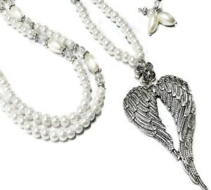 Wings of an Angel white pearl, Necklace and (optional) earrings