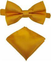 Fliege + Einstecktuch Schleife Querbinder Binder de Luxe 617 gold Krawatten