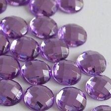 8mm Non-Hotfix  Light Purple Crystal Gems Mesh-Face Rhinestones Glue-on 100pcs