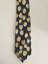 Men's Yellow Tulip Blue Tie Charleston Tie Rack 9cm Silk