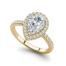 Pave Halo 1.45 Carat SI1/F Pear Cut Diamond Engagement Ring Yellow Gold