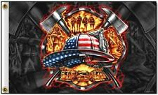 FIRE DEPARTMENT TRIBUTE FLAG DELUXE 3X5 FLAG FL538 america fire fighter new work