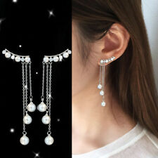Fashion Long Tassel Silver Earrings Imitation Pearl Pendant Earrings Jewelry