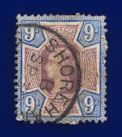1887 SG209 9d Dull Purple & Blue K38(1) Shoreham Fair Used Cat £48 csna