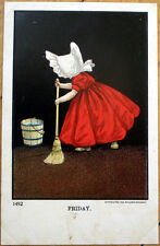 1905 Days of the Week Postcard, Little Girl's Chores:  Friday - Cleaning, Broom