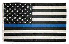 Thin Blue Line 3' x 5' American Flag with brass grommets Free Shipping!