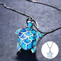 Fashion  Necklace Woman Opal Fire Charm 925 SilverTurtle Pendant Chain  Jewelry