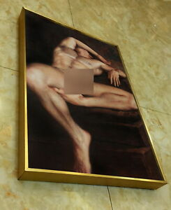 "Framed art prints+handpaint canvas transfer painting nude male lying men 12""x18"""