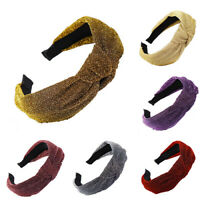 Women's Girl Shining Headband Hair Wraps Hair Band Polyester Knot Accessories