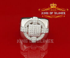 10K White Gold Finish Silver CZ Men's  Ring Size 8