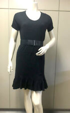 "$198 BCBG BLACK ""EHJ6F609"" OVERSIZED RUFFLE WOOL SWEATER DRESS NWT XS"