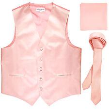 """New Men's pink vest Tuxedo Waistcoat_1.5"""" necktie & hankie set wedding"""
