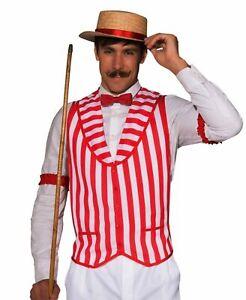 Mens Barber Shop Quartet Vest Red White Stripes Adult xl Plus Size Costume Prop