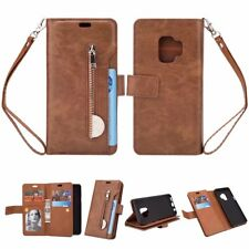 Brown zipper 9 card slot wallet Leather Cover strap for iphone X Samsung S9