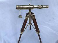 10 inch Nautical Marine Spyglass Polished Brass Telescope on Wooden Tripod Stand